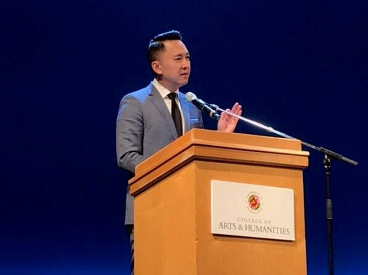 "Pulitzer Prize-winning author Viet Thanh Nguyen speaks about his new book, ""The Refugees,"" at the First Year Book event at the Clarice Smith Performing Arts Center on Tuesday, Oct. 23, 2018."